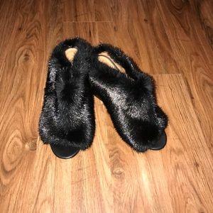 Givenchy. Paris Genuine Mink Fur Mule. Real fur!!